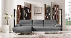 Divani Casa Trinidad Modern Grey Fabric Sectional Sofa VGMB-1509B-GRY