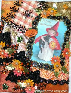 by Pamela Kellogg of Kitty and Me Designs: Halloween Crazy Quilting