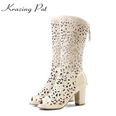 ==> [Free Shipping] Buy Best 2017 New fashion brand shoes cut outs hollow crystal peep toe women summer boots thick high heels shoes superstar shoes L3f1 Online with LOWEST Price | 32795078108
