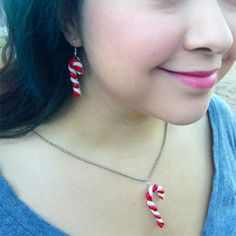 Clay is used to make a whimsical holiday jewelry set.