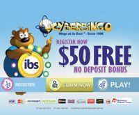 Click thru to take advantage of our $50 free exclusive sign up bonus to try CyberBingo's online bingo games