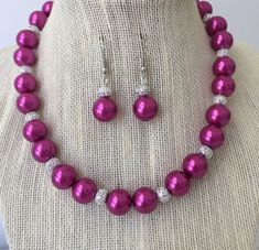 Fuchsia Chunky Pearl Necklace Earring Set by CherishedJewelryCo