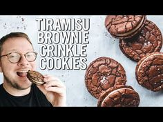 Tiramisu Brownie Crinkle Cookies — The Boy Who Bakes Crinkle Cookies, Brownie Cookies, Brownie Bar, Christmas Desserts, Christmas Cookies, British Biscuit Recipes, Tiramisu Brownies, Dessert Restaurants, Cookie Press