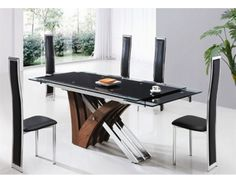 ElISSE EXTENDING GLASS DINING TABLE AND CHAIRS