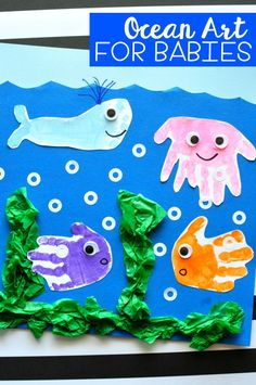 Sponsored by Baby Einstein. Simple and fun handprint and footprint baby art project. Ocean handprint art for kids, kids handprint crafts, handprint ocean art for kids and baby crafts.