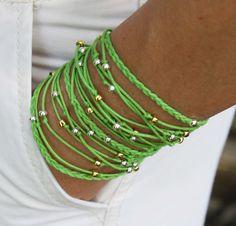"BOHO Beach Wrap Bracelet - Lime Green - TRIPLE Braided Knotted Beaded Wrap bracelet - 23.5"" Wrist 6.20"" to 7"" - Boho Wrap Bracelet - Ref 256. $22.50, via Etsy."