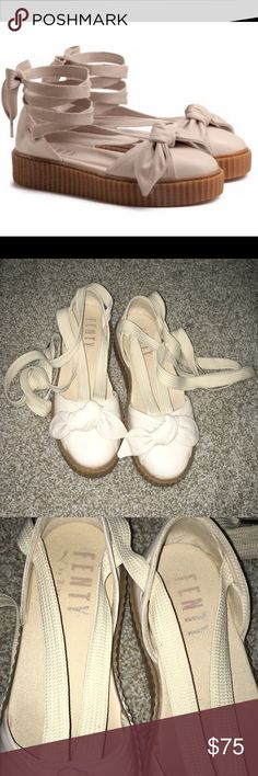 8cdd4e1f5 Fenty Puma by Rihanna Creeper Bow Sandals Good Condition Size: 10 Color:  Neutral/ Very light pink tint w/ oatmeal gum bottom Puma Shoes Sandals