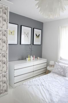 gray & white bedroom like accent wall may do this idea Which wall?