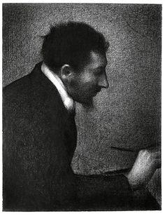Georges Pierre Seurat (French, Neo-Impressionism, Pointillism, 1859–1891): Aman-Jean (Portrait of Edmond-François Aman-Jean), 1883. Conté crayon on Michallet paper, 24-1/2 x 18-11/16 inches (62.2 x 47.5 cm). Metropolitan Museum of Art, New York, NY, USA.  Portrait of artist: Edmond François Aman-Jean (French; Symbolist, Art Nouveau, 1858-1936)