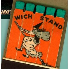 Wich Stand Drive In Feature Matchbook Print with Witch on broom - Los Angeles