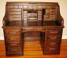Antiques Open-Minded Kids Oak Roll Top Desk Desks & Secretaries