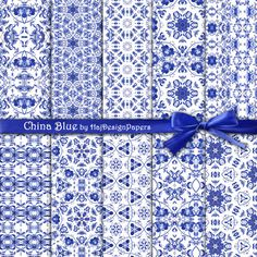 "Blue digital paper : ""China Blue"" blue and white digital paper with china blue, oriental patterns, chinese digital paper, decoupage"