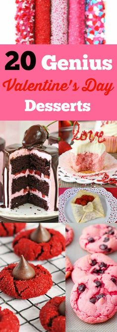 These 20 Genius Valentines Day Dessert Ideas are a creative collection of Valentines Day treats and sweets! They are easy to make and will certainly impress your loved ones! #13 is my favorite!