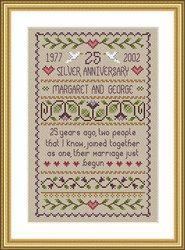 Counted Cross Stitch Pattern, Silver Wedding Cross Stitch Pattern by Little Dove Designs, Primitive Wedding Sampler, Anniversary by GriffithGardens on Etsy