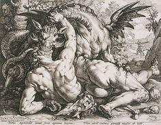 The Dragon devouring the companions of Cadmus, 1588  Hendrik Goltzius (publisher/printer; printmaker; painter/draughtsman; Dutch;  1558 - 1617)  Engraving