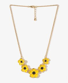 Lacquered Flower Collar Necklace | FOREVER21 - $5.80