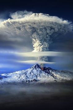 volcano, clouds