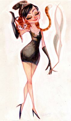 Audrey by Betsy Bauer. Gown length and body structure are clearly given artistic license, cartoony Cat looks perfect, and Breakfast at Tiffany's is still there, albeit in a more humorous spirit.