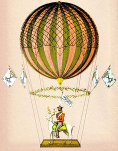 Vintage Hot Air Balloon Zephire 8X10 Art Print Poster Mixed Media Painting Wall Decor Wall hanging Wall Art