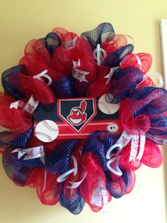 Cleveland Indians baseball deco mesh wreath