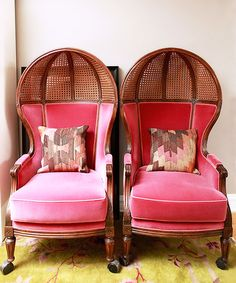 kishani perera's rummage hot pink chairs, photographed by lara rossignol for matchbook magazine.