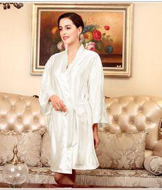 c26a209508 Wholesale Women s White Silk Nightgown Robe Dressing