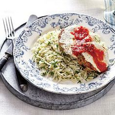 Eggplant Parmesan with Parsley Orzo | Cooking Light #myplate #protein #veggies #dairy