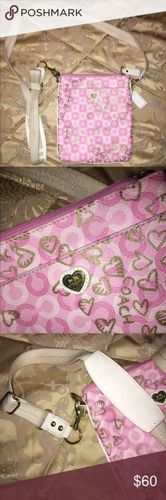 Coach Pink Cross Body Bag Pink and gold heart pattern, coach cross body bag with cream strap Coach Bags Crossbody Bags