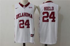 59a6cd14240 Oklahoma Sooners 24 BUDDY HIELD College Basketball Jerseys Team Red White  Embroidery Shirts Customize any name number