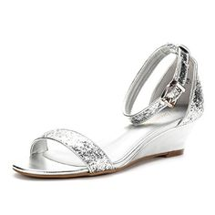 84c307a900 ... Silver Glitter Ankle Strap Low Wedge Sandals - M US: Add a fancy sparkle  to your wordrobe with this gorgeous wedge sandal! Featuring strap  construction ...