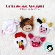 Little Animal Appliqués: Farm Collection This Little Animal Appliqués: Farm Collection crochet pattern contains 5 animals: Chicken, Cow, Horse, Lamb and Pig. These Little Animal Appliqués can be ma…