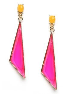 These stunning earrings carry all the florescent glamour of the Eighties, especially the electro-pop style of Jem and the Holograms. They feature fun yellow studs with dangling asymmetrical hot pink drops.