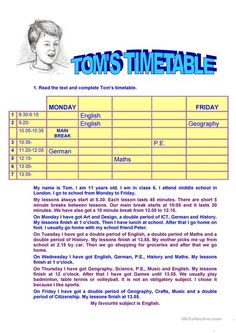 TOM'S TIMETABLE