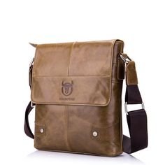 Bullcaptain Genuine Leather Message Bag Business Vintage Crossbody Bag For Men