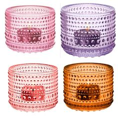Pale pink, lavender, salmon pink & seville orange - Kastehelmi candle holders by Iittala Paleo, Candles, Pale Pink, Finland, Glass, Beautiful, Decor, Sevilla, Decoration
