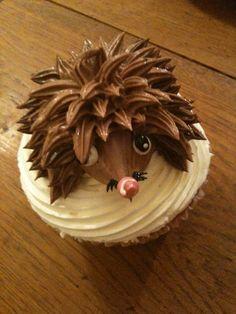 Adorable hedgehog cupcake