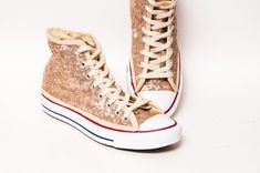 41625efabadd Tiny Sequin - Starlight Champagne Gold Canvas Converse Canvas Hi Top  Sneakers Tennis Shoes