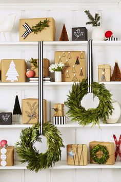 Deck the Walls Like the shelf wall...change for different seasons! Also love the cedar wreaths