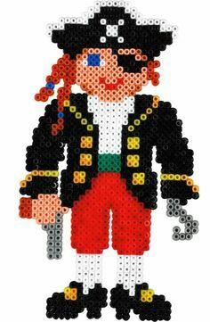Pirate cross stitch. Perler Beads, Hama Beads Minecraft, Perler Bead Art, Fuse Beads, Minecraft Crafts, Hama Beads Design, Hama Beads Patterns, Beading Patterns, Hama Mini