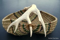 Antler Basket with Real Deer Shed Antler  with Gizzard Basket or Buttocks Basket Shape/etsy 245$