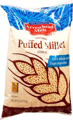 "Puffed millet, unidentified but certainly proso. Ingredients""?: ""Puffed Whole Grain Millet"""