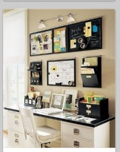board across some filing cabinets, simple and useful. Rental Decorating – Home Office