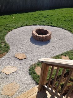 My backyard firepit with seating area. Stones from Lowes $2.25 a piece, need 30 and 2 bags of pea gravel $3. Firepit diameter 30in. Seating area 4ft out, laid black cloth under rock, 1 roll $9. Size 9 gravel, 1 scoop from local gravel supply $31. Already had stepping stones.