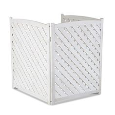 Air Conditioner Screen Wood Lattice Outdoor Lawn Garden Privacy White A/C Fence Garden Privacy, Privacy Screen Outdoor, Sloped Garden, Privacy Screens, Air Conditioner Cover Outdoor, Air Conditioner Screen, Lawn And Garden, Home And Garden, Outdoor Pool