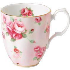 Royal Albert 100 Years Mug - 1980 Rose Blush (245 SEK) ❤ liked on Polyvore featuring home, kitchen & dining, drinkware, pink, royal albert, pink mug and rose mug