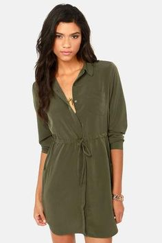 Olive shirt dress  #done