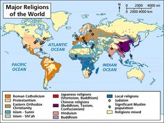 Map of World Religions.  Here the major religions throughout the world are displayed.