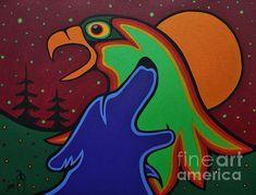 Native American Paintings, Native American Art, Wolf Painting, Painting & Drawing, Mother Painting, Eagle Bird, Spirited Art, Native Design, Indigenous Art