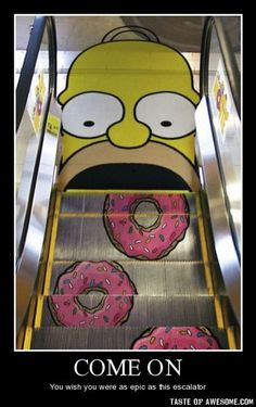 Homer + Donuts - Escalator sticker ad. For conceptualization and custom printing, visit www.unifiedmanufacturing.com
