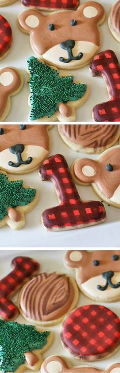 Lumberjack Plaid Cookies with Bears and Tree Stumps by Rose Bakes